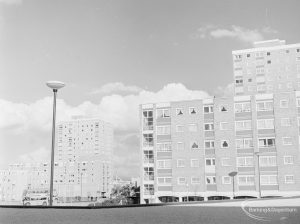 Recent housing at Becontree Heath, showing shops and flats opposite Dagenham Swimming Pool, 1972