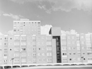Recent housing at Becontree Heath, showing north end of parade of shops and flats opposite Dagenham Swimming Pool, 1972