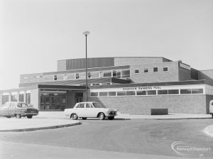 Front exterior of Dagenham Swimming Pool, Becontree Heath, 1972