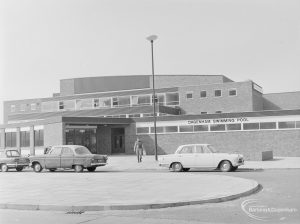 North end of Dagenham Swimming Pool, Becontree Heath, taken from north-east, 1972