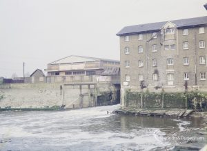 Barking Quay, showing rushing waters by mill, 1972