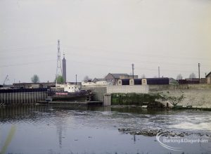 Barking Quay, showing wharf and yard with boat opposite, 1972