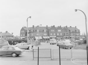 North end of Wood Lane, Dagenham, with shops to south-west, 1972