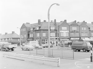 North end of Wood Lane, Dagenham, looking to shopping parade, 1972