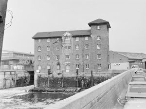 Mill and warehouse on waterfront at Barking Quay, from east, 1972