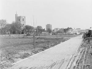 Old Barking landscaping, showing area looking north from Abbey Road, with St Margaret's Parish Church on left, 1972