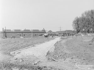 Old Barking landscaping, showing foundations of path crossing, 1972