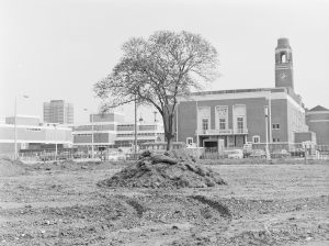 Old Barking landscaping, showing Assembly Hall from south-south-east across cleared area, 1972