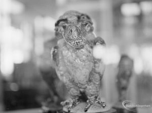 Victoria and Albert Exhibition on Martinware at Rectory Library, Dagenham, showing ceramic monster animal [possibly owl, monkey or toad], 1972