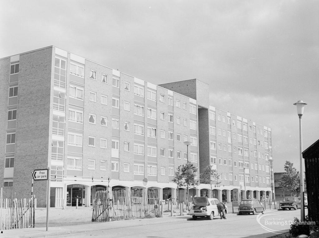 Becontree Heath development, showing shops and flats, 1972