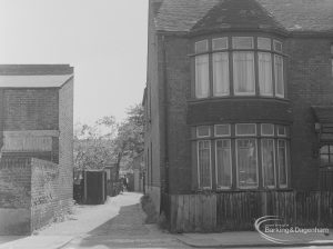Old Barking, showing alley on south-west side of Fanshawe Avenue leading towards Glenny Road, 1973