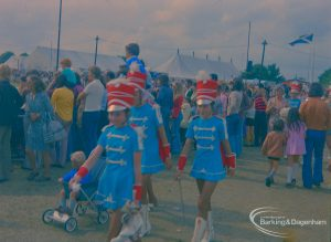 Dagenham Town Show 1973 at Central Park, Dagenham, showing visitors including Majorettes passing by the arena, 1973