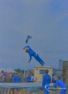 Dagenham Town Show 1973 at Central Park, Dagenham, showing RAF members on trampoline, 1973