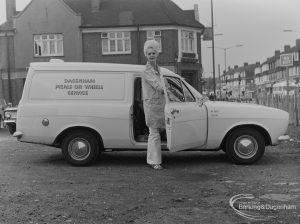Dagenham Meals-on-Wheels Service van and driver in car park in Barking, 1973