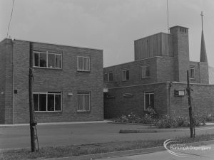 Housing for disabled people at Sweetland Court, Lodge Avenue, Barking, taken from north-west, 1974