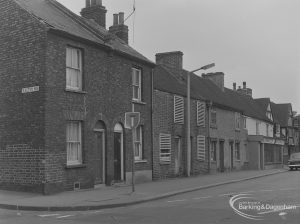 Small houses and shop at 2 – 16 Church Street, Dagenham at junction with Exeter Road, taken from south-west and 2B possibly demolished, 1974