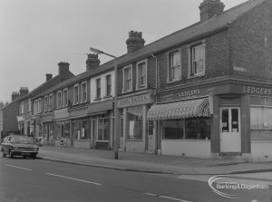 Small houses and shops, including Ledger's and John Paites, at 18 – 30 Church Street, Dagenham and taken from south-east, 1974