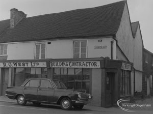 R G West Limited, Building Contractor's shop on corner of Church Street, Dagenham, adjoining Cross Keys Public House, 1974