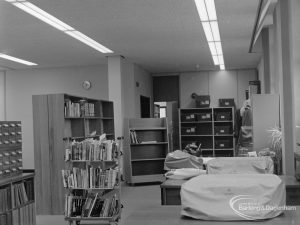 New Barking Central Library, Axe Street, Barking, showing typists' room, 1974