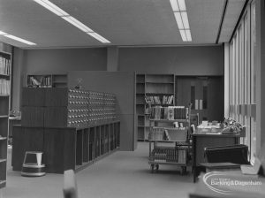 New Barking Central Library, Axe Street, Barking, showing cataloguing room from south end, 1974