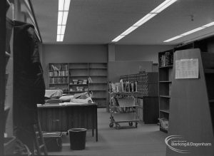 New Barking Central Library, Axe Street, Barking, showing cataloguing room from north end, 1974