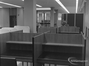 New Barking Central Library, Axe Street, Barking, showing open study desks in Reference section with cubicle beyond, 1974