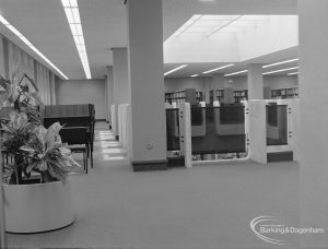 New Barking Central Library, Axe Street, Barking, showing side tables for study in Reference section, 1974