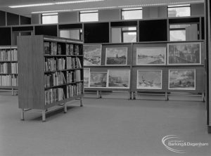 New Barking Central Library, Axe Street, Barking, showing pictures for loan on display in Reference section, 1974