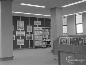 New Barking Central Library, Axe Street, Barking, showing pictures and gramophone records in Music section, 1974