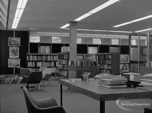 New Barking Central Library, Axe Street, Barking, showing Reference Librarian's desk and general view of Reference section, 1974