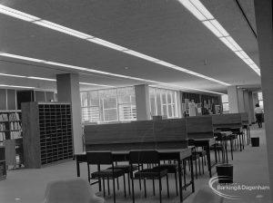 New Barking Central Library, Axe Street, Barking, showing reading and writing tables in Reference section, 1974