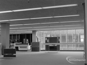 New Barking Central Library, Axe Street, Barking, showing counter area in Reference section, 1974