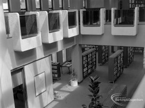 New Barking Central Library, Axe Street, Barking, showing view from first floor into Lending section to north-west, 1974