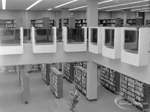 New Barking Central Library, Axe Street, Barking, showing view from first floor into Lending section to north-east, 1974