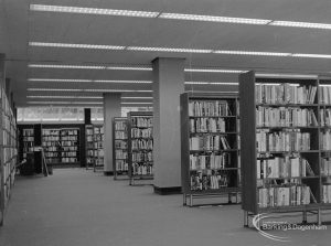 New Barking Central Library, Axe Street, Barking, showing Lending section on ground floor, north range, 1974