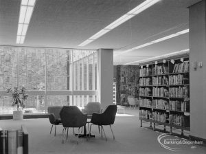 New Barking Central Library, Axe Street, Barking, showing Lending section, seating area to east of counter, 1974