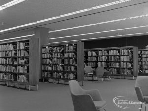New Barking Central Library, Axe Street, Barking, showing Lending section, south end of bookcases, 1974