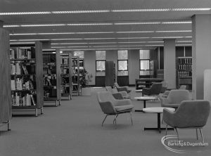 New Barking Central Library, Axe Street, Barking, showing seating area in north part of Reference section, 1974