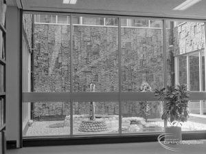 New Barking Central Library, Axe Street, Barking, showing Water Garden feature viewed from west, 1974