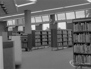 New Barking Central Library, Axe Street, Barking, showing Lending section with bookcases to west, 1974