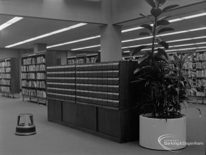 New Barking Central Library, Axe Street, Barking, showing public catalogue cabinet in Lending section, 1974