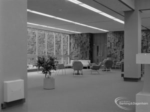 New Barking Central Library, Axe Street, Barking, showing armchairs in open area of Lending section, taken from north-west, 1974