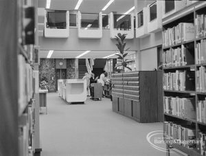 New Barking Central Library, Axe Street, Barking, showing Lending section with view of area behind counter, looking south, 1974