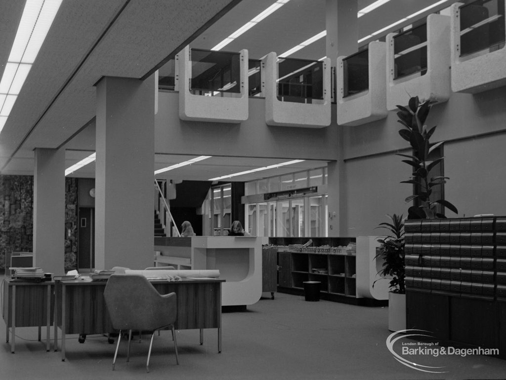 New Barking Central Library, Axe Street, Barking, showing Lending section with view of desk, rear of counter, and catalogue, 1974
