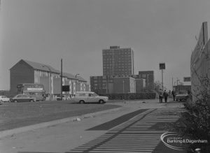 Becontree Heath, showing housing, Ship and Anchor Public House, Three Travellers Public House, and front elevation of Civc Centre, Dagenham in background, 1974