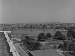 Becontree Heath, showing view from roof of Civic Centre, Dagenham towards lake, 1974