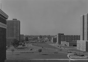 Becontree Heath, showing view from roof of Civic Centre, Dagenham [possibly towards west], with Three Travellers Public House and Ship and Anchor Public House in background, 1974