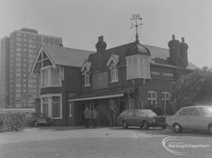 Becontree Heath, showing Three Travellers Public House from north-west, 1974