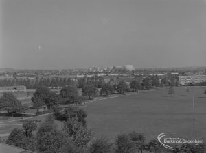 Becontree Heath, showing view from roof of Civic Centre, Dagenham towards gasholders, with lake on left, 1974