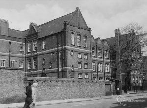 Gascoigne School, Gascoigne Road, Barking, from south-east (corner of road), 1976